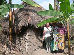 The family Barb sponsored. Here is the mud hut they lived in before Barb built them a house.