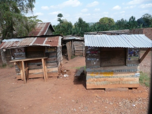 Typical structures along the road to Gulu.