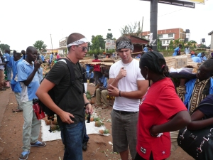 Ryan, Harrison, and Sarah, our traveling companions to Gulu. Here we are at a rest stop where the bus broke down.