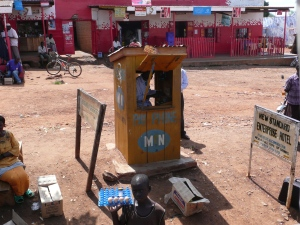 "A typical Ugandan ""phone booth."""